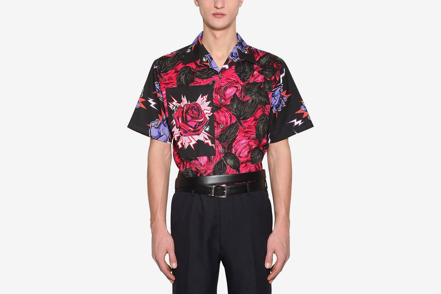 Rose Printed Cotton Poplin Shirt