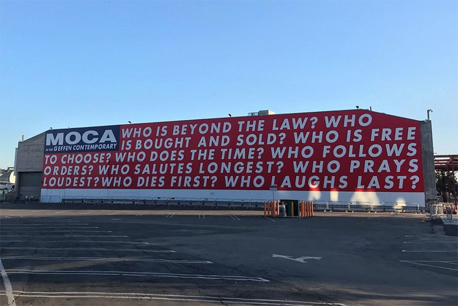 barbara kruger untitled questions moca mural