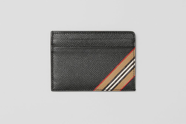 Icon Stripe Leather Card Case