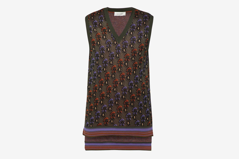 Floral-Jacquard Cotton-Blend Vest