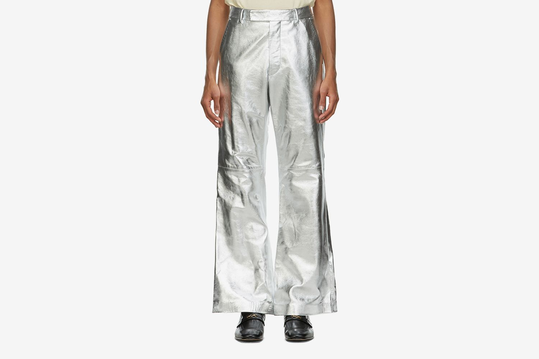 Metallic Leather Flared Trousers