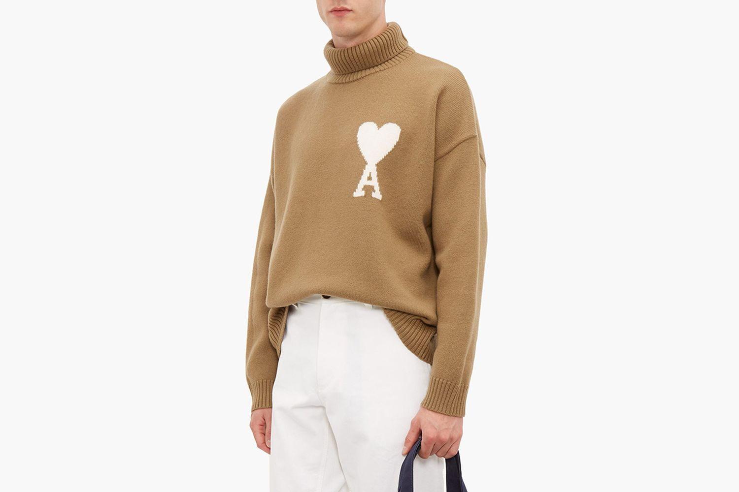 De Caur Intarsia Wool Roll Neck Sweater