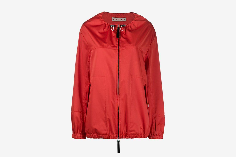 Collarless Drawstring Jacket