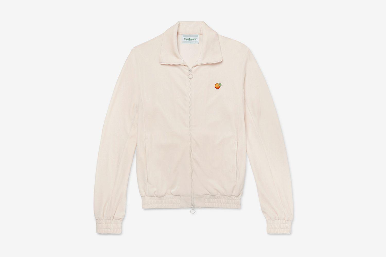 Slim-Fit Appliquéd Velour Track Jacket