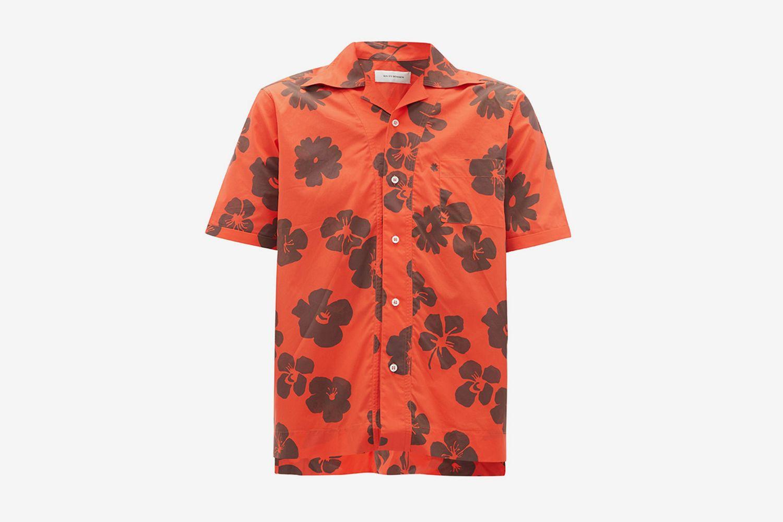 Hibiscus-Print Cuban-Collar Shirt