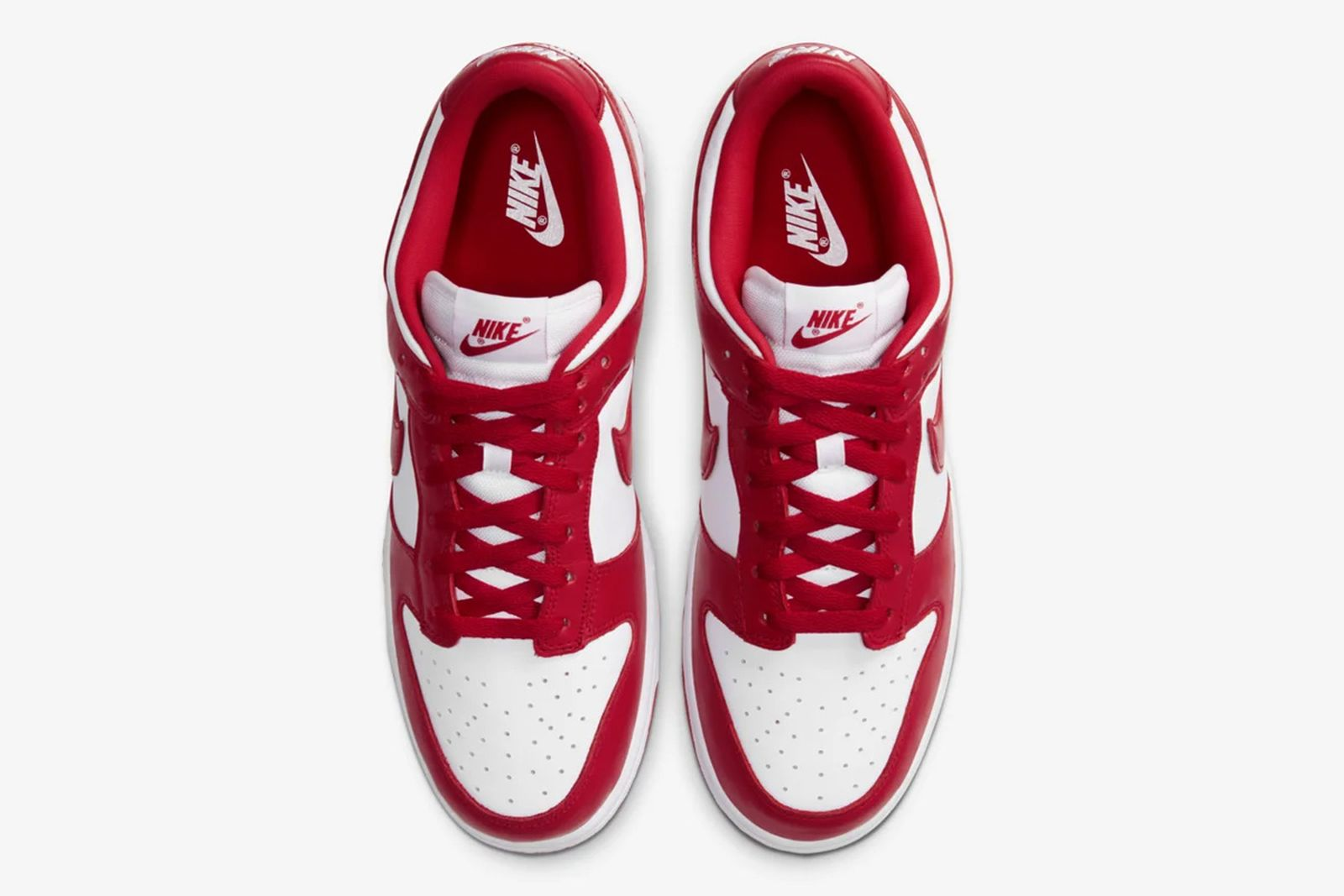 Red and white Nike Dunk Low top down view