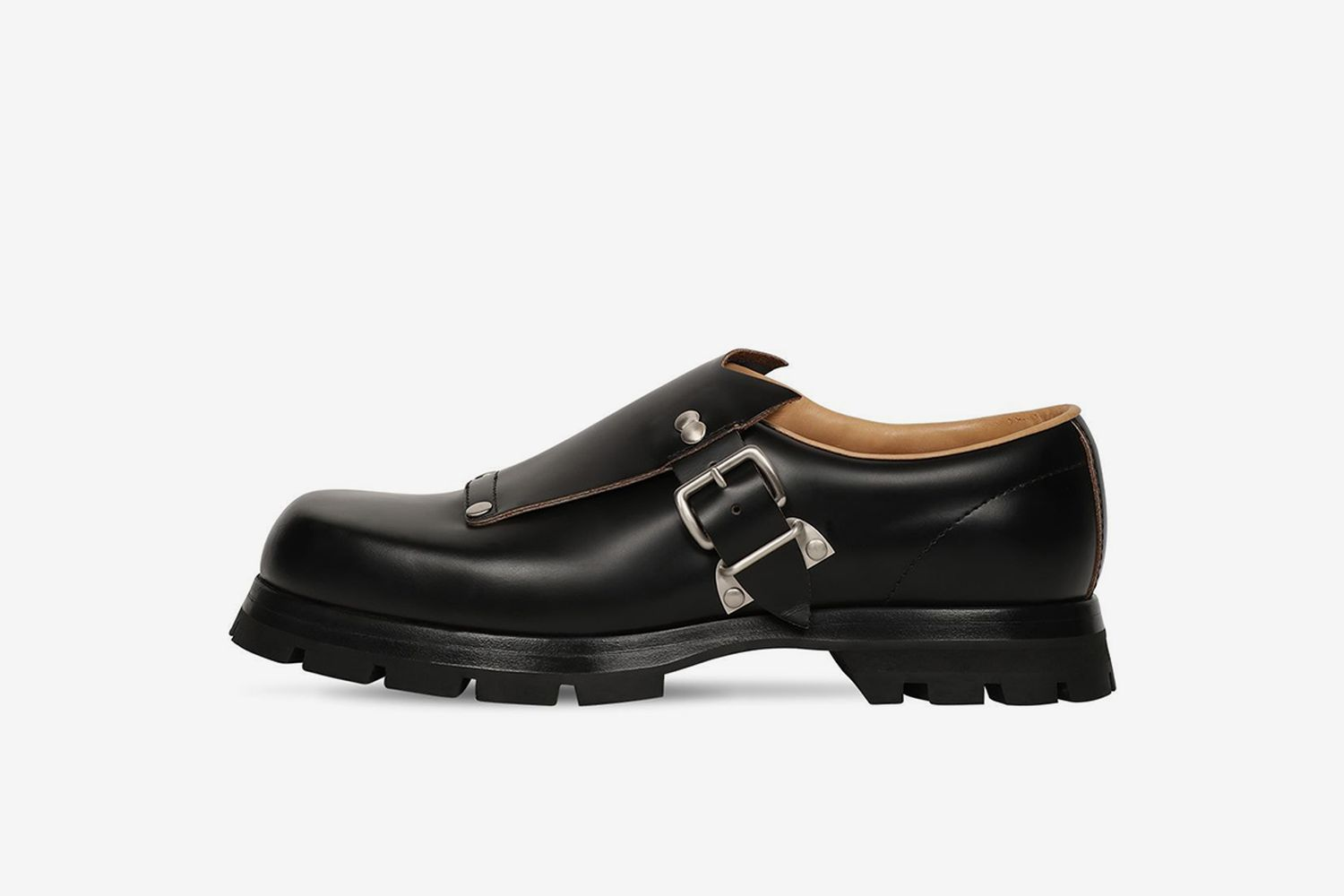 Monk Buckle Leather Loafers