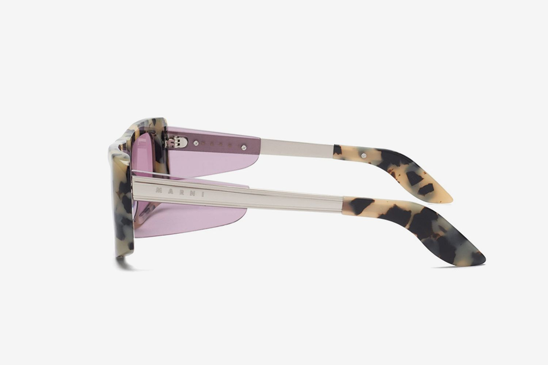 Rectangle Tortoiseshell-Effect Acetate Sunglasses