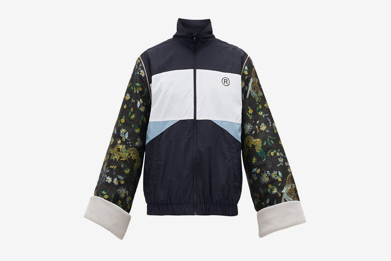 High-Neck Jacquard-Sleeves Track Jacket