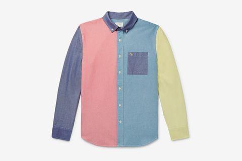 Button-Down Collar Colour-Block Cotton Oxford Shirt