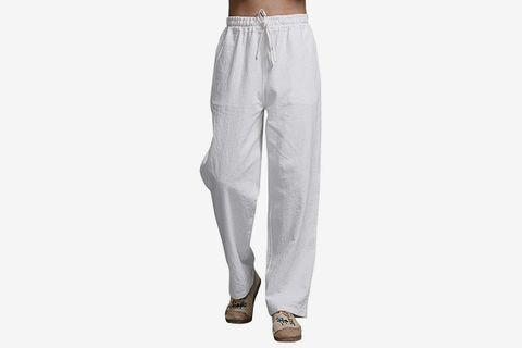 Linen Casual Pants Elastic Waist