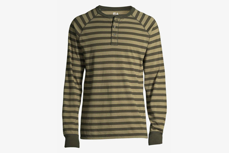 Everyday Long-Sleeve Striped Henley Shirt