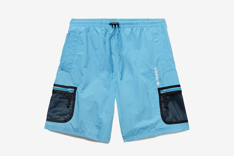 Adventure Mesh-Trimmed Nylon Drawstring Cargo Shorts