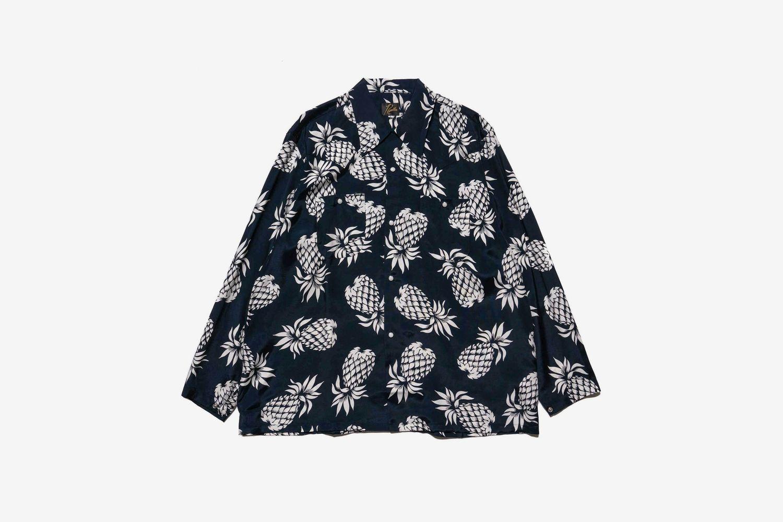 One Up Cowboy Shirt Rayon Cloth Sateen Pineapple Navy
