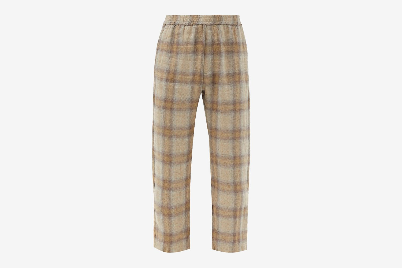 Bativoga Check Linen Trousers