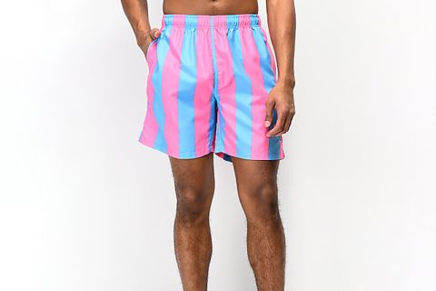 Vertical Stripe Elastic Waist Board Shorts