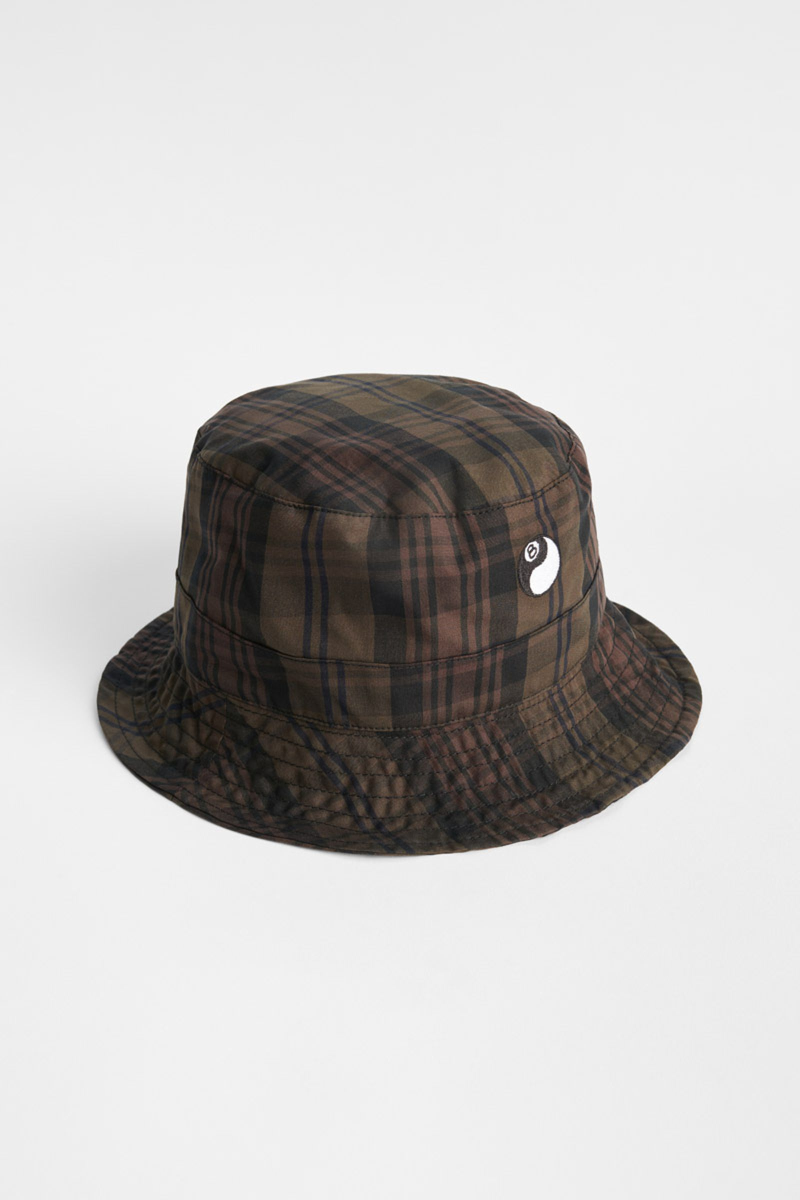 AS208BBP_BUCKET HAT_BROWN PLAID_UPRIGHT