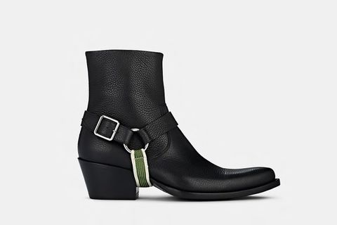 Harness-Strap Leather Ankle Boots