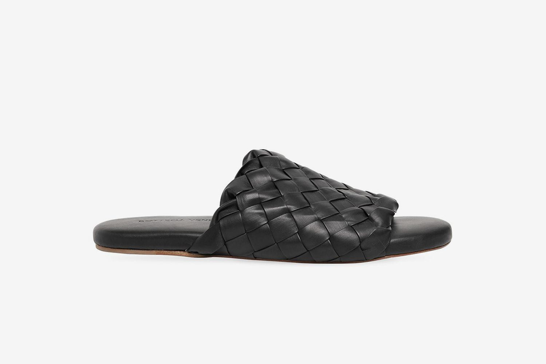 Intrecciato Leather Slide Sandals