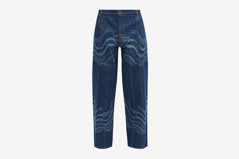 Waved Wide-leg Jeans