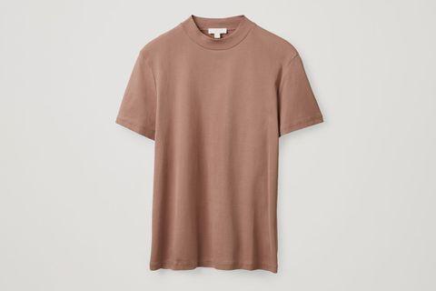 Mock-Neck Cotton T-Shirt