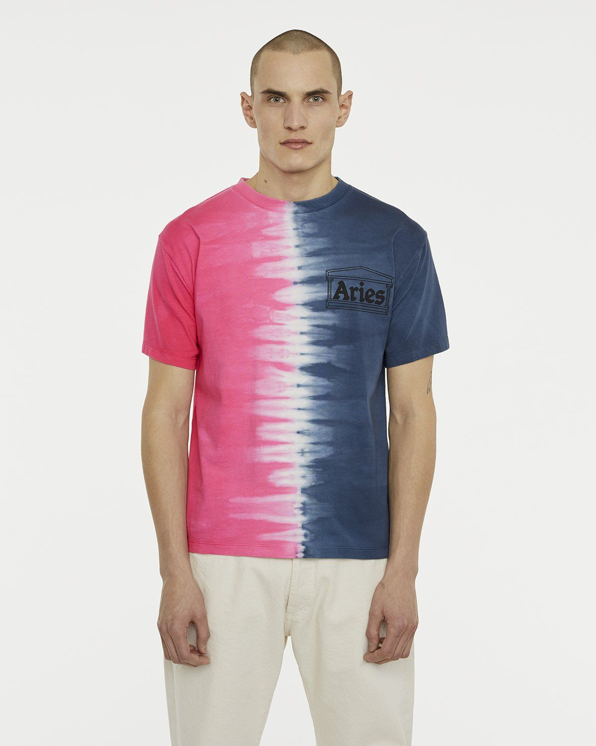 Aries - Tie Dye Half and Half Tee Blue/Fuchsia - Image 3