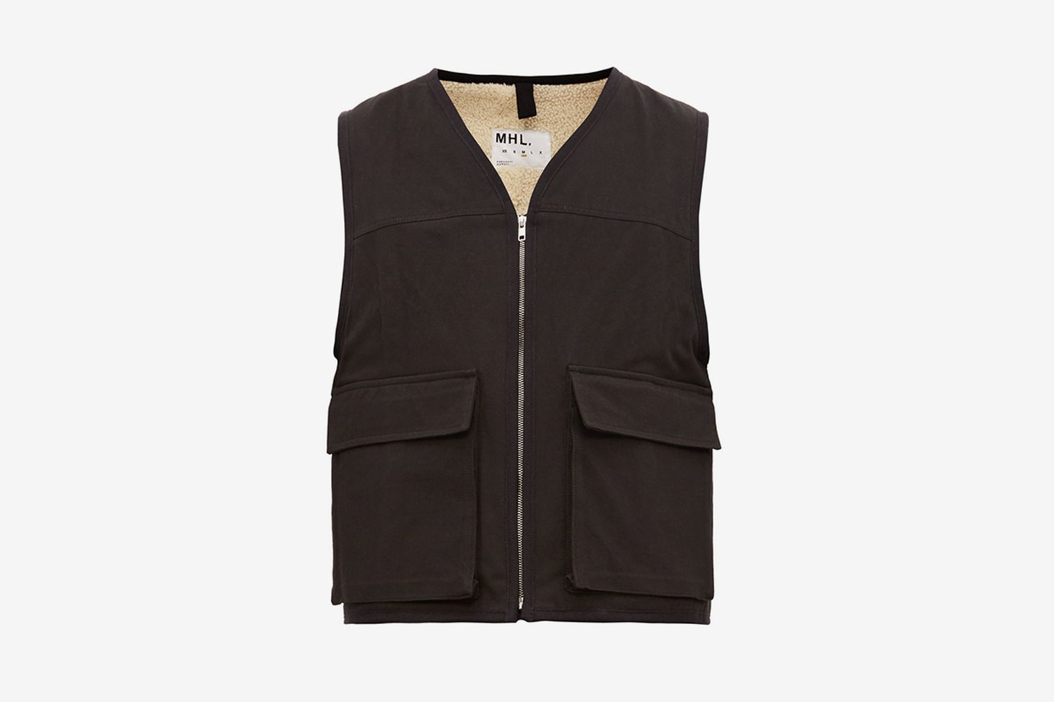 Shearling Lined Cotton Twill Utility Vest