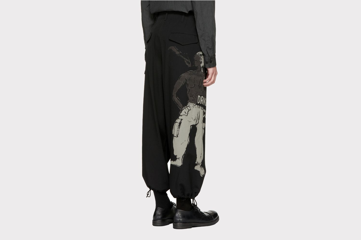 Black H4 Discharge Army Trousers