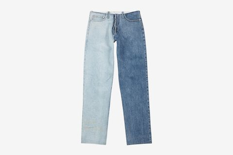 Two-Tone Distressed Straight-Leg Jeans