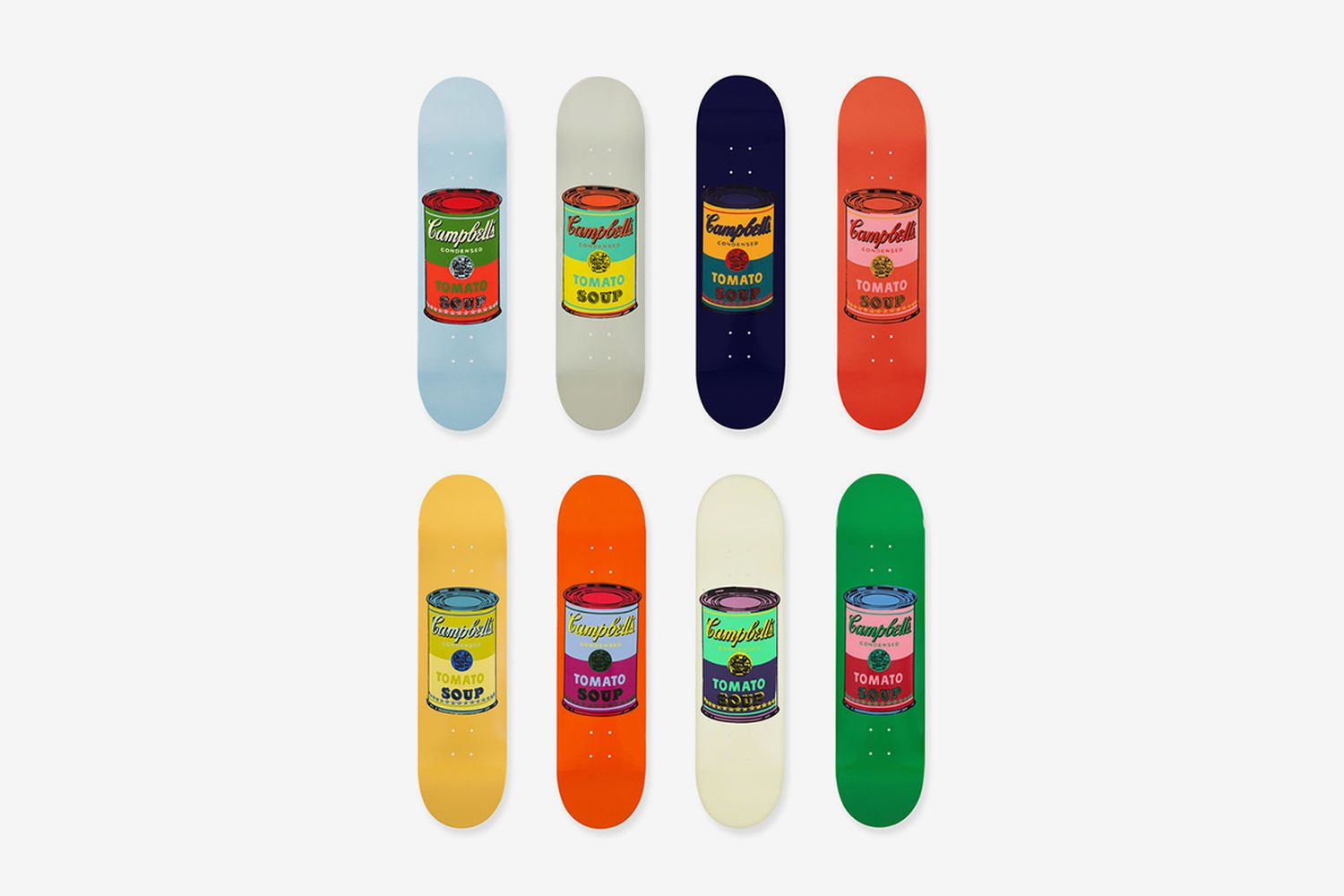 Skateboard Colored Campbell's Soup Cans Set of 8