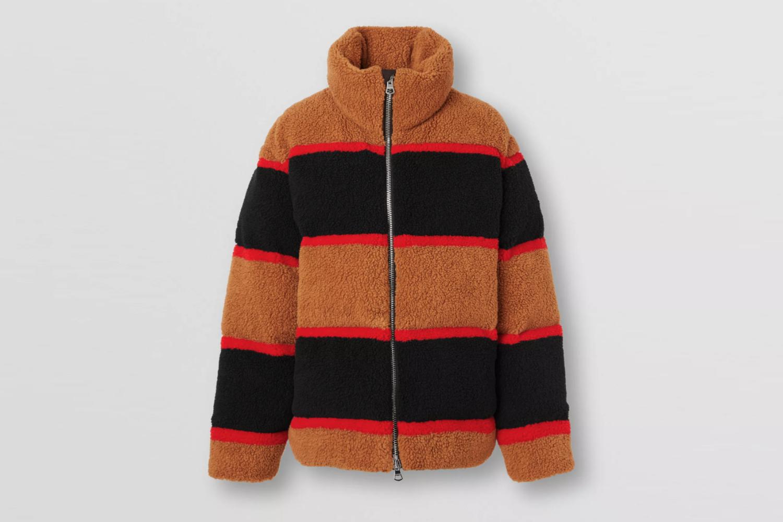 Colour Block Fleece Jacquard Puffer Jacket