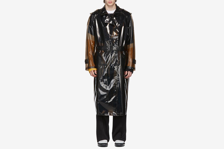Black Transparent PVC Trench Coat