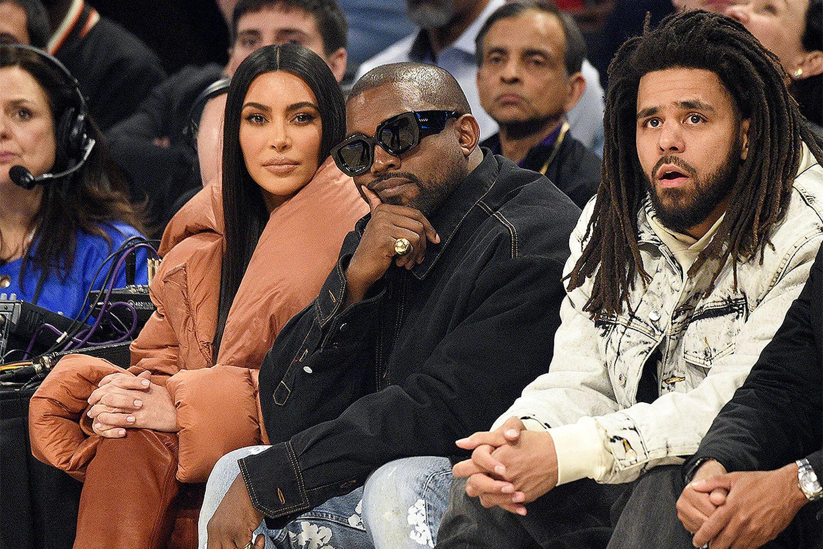 Kanye West, Kim Kardashian, nd J. Cole court-side NBA All-Star Game