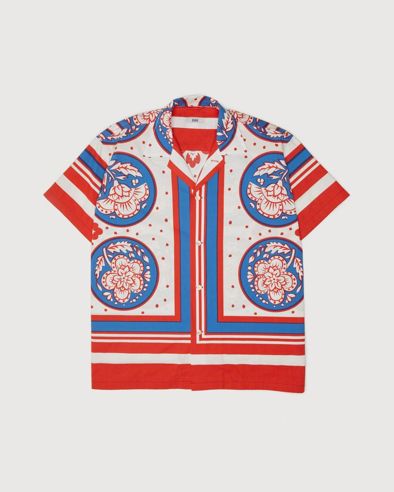BODE - Oversized Block Print Shirt Blue Red