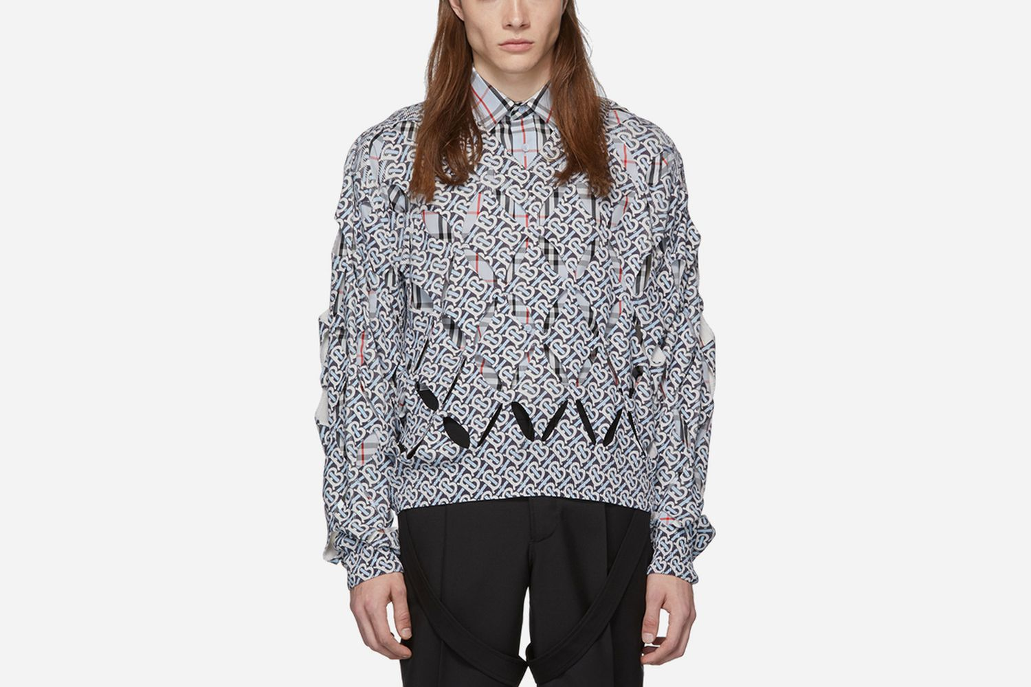 'TB' Cut-Out V-Neck Sweater