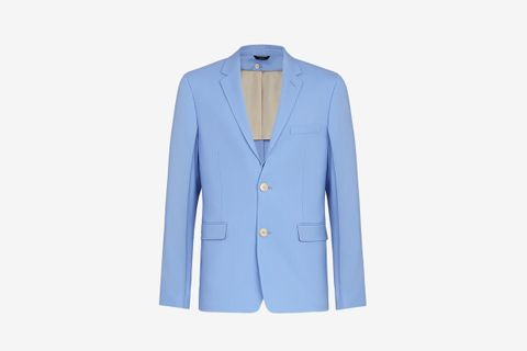 Light Blue Detachable Collar Blazer
