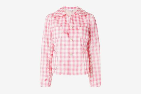 Gingham Checked Fitted Jacket