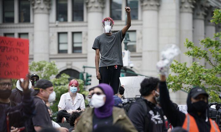 Demonstrators march in lower Manhattan June 2, 2020