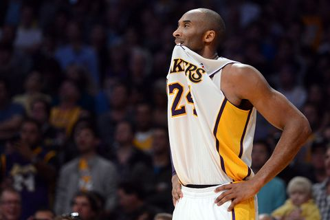 Kobe Bryant watches Lakers game wearing #24 jersey