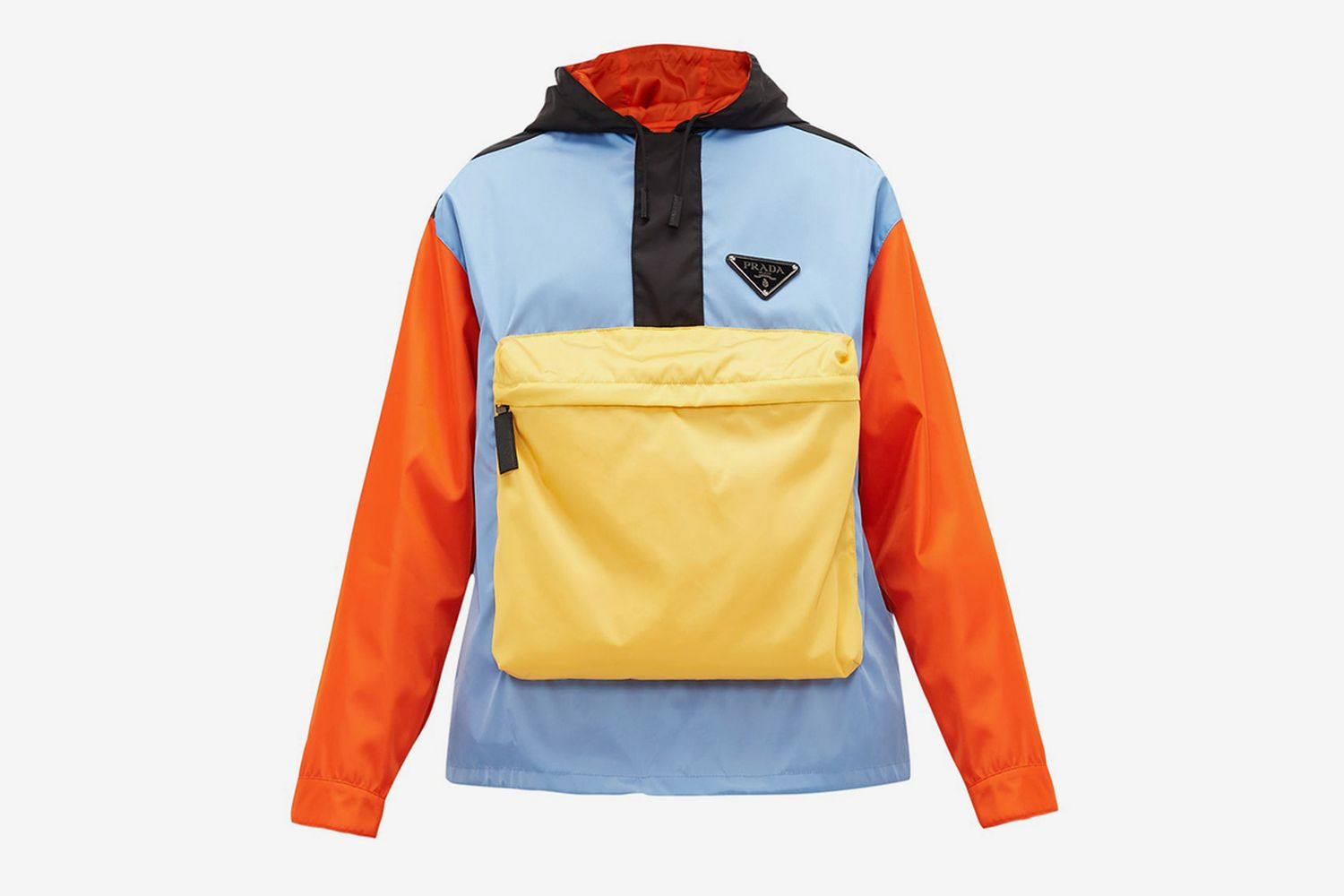 Colour-Block Nylon Hooded Jacket