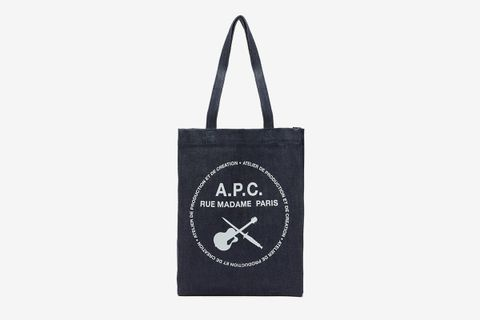 Logo-Print Denim Tote Bag