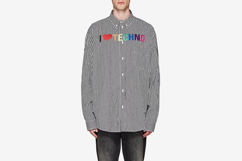 """""""I Love Techno"""" Striped Cotton Shirt"""
