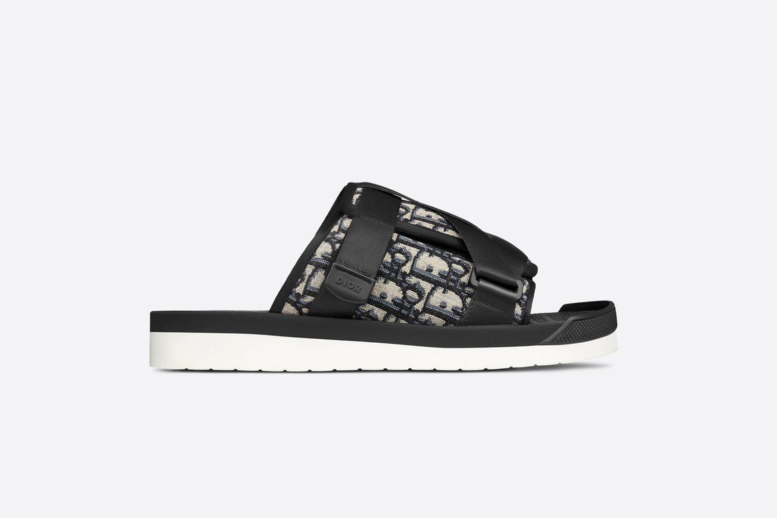 Oblique jacquard sandal black