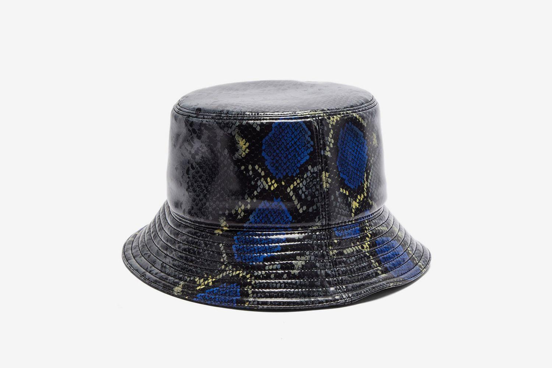 Snake-Print Coated-Twill Bucket Hat
