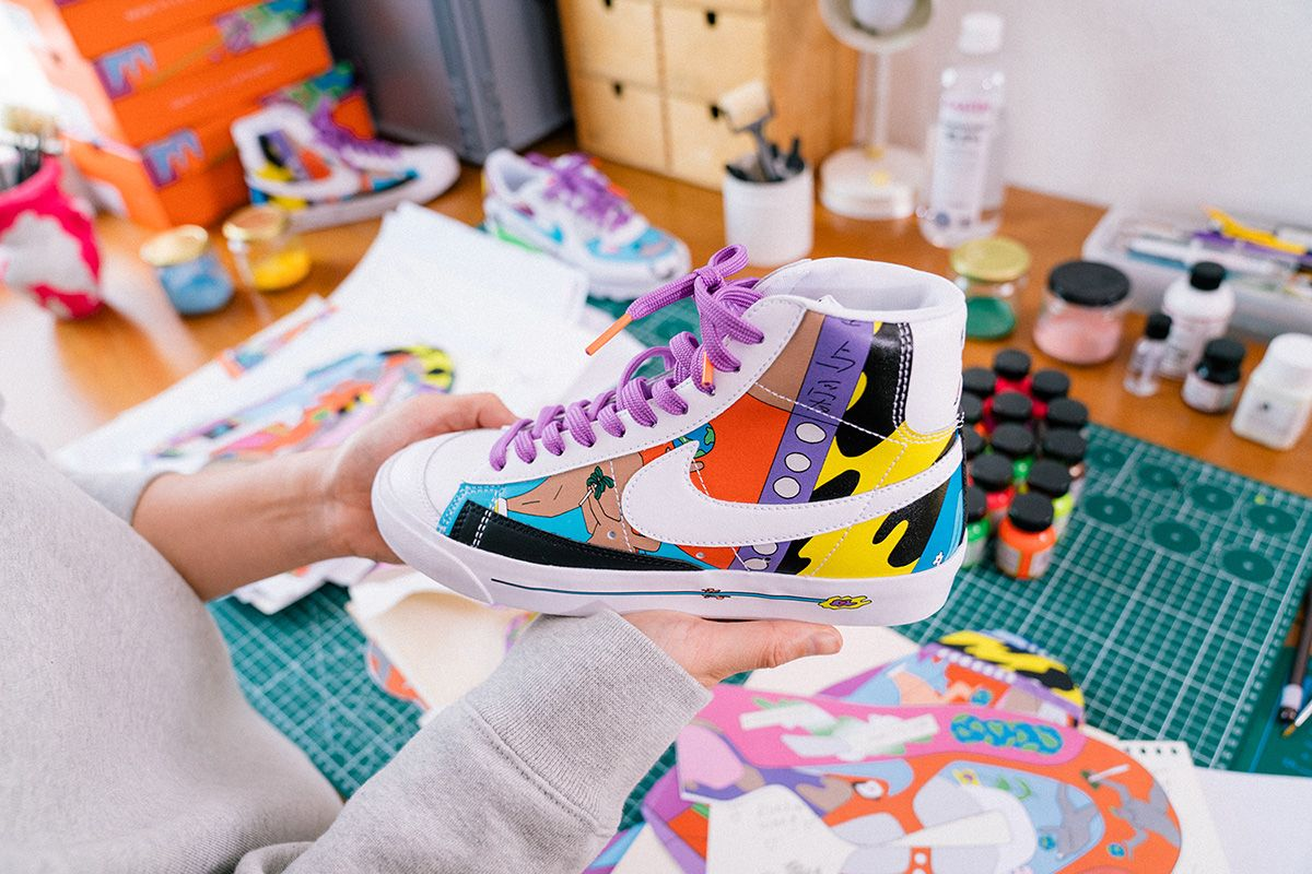 Ruohan Wang's Asymmetrical Artwork Refreshes Nike's Most Iconic Silhouettes 12