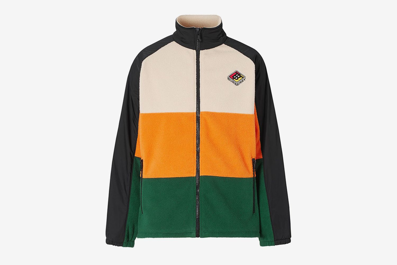 Colour-Block Striped Fleece Jacket