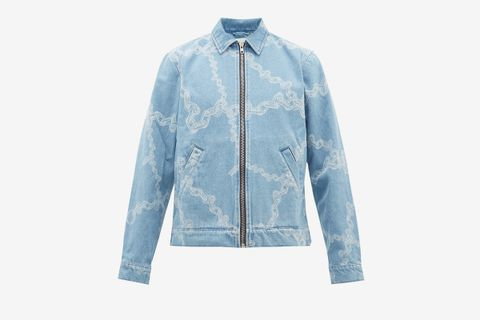 Chain Print Cotton Denim Jacket