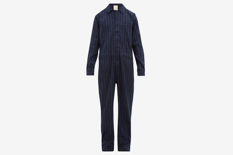 Striped Cotton Blend Jumpsuit