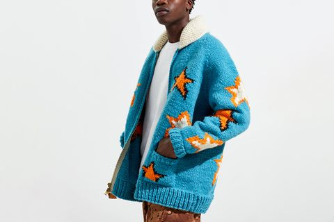 UO Exclusive Stars Hand Knit Full-Zip Cardigan