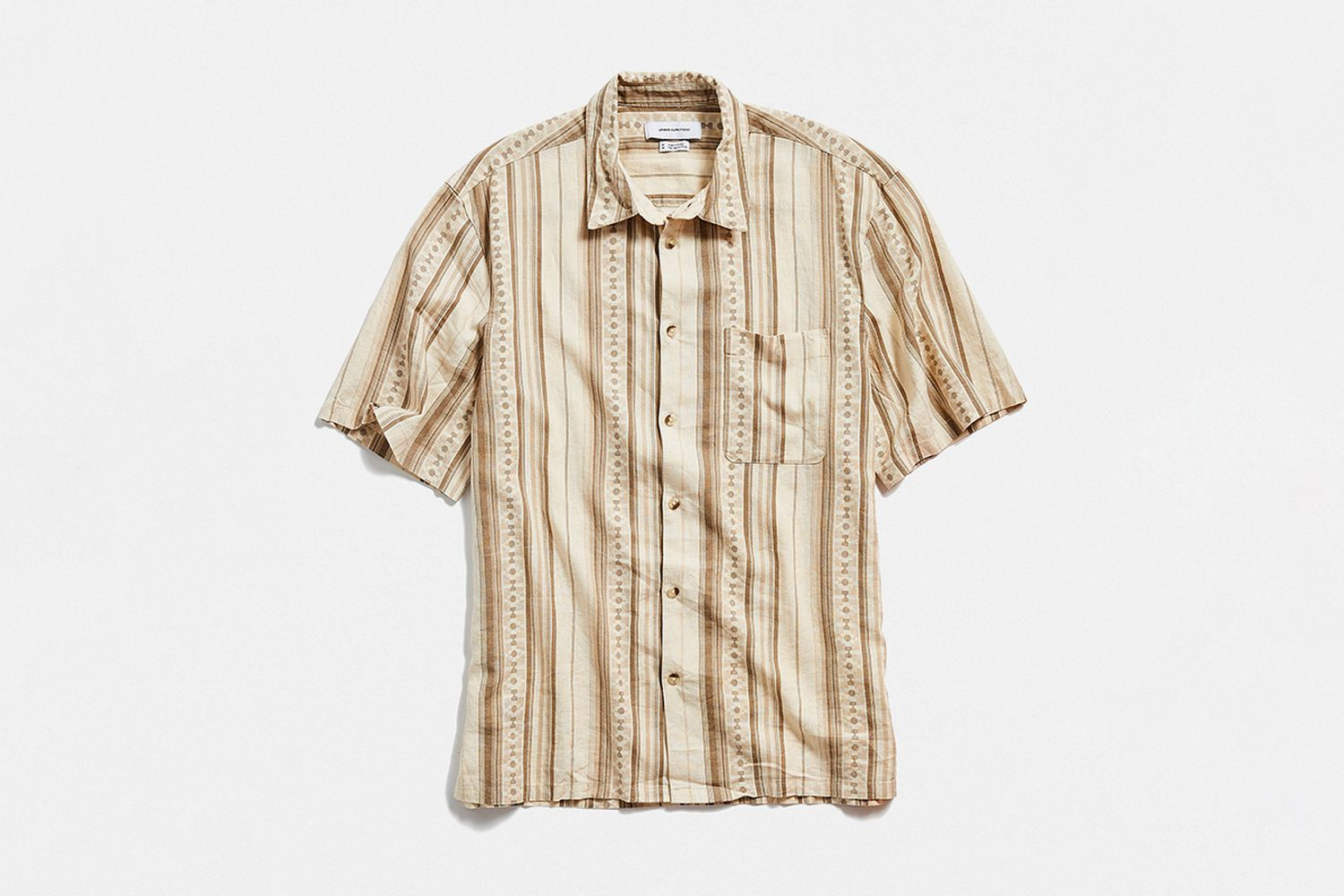 Stripe Linen Blend Short Sleeve Button-Down Shirt